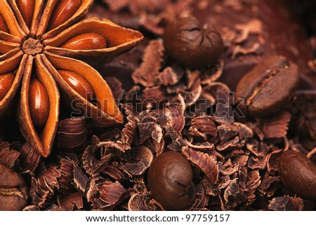 The sweet chocolate, black coffee and anise - stock photo