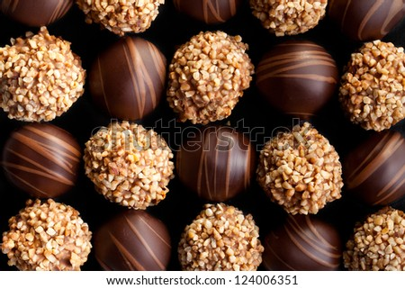 the sweet chocolate pralines background - stock photo