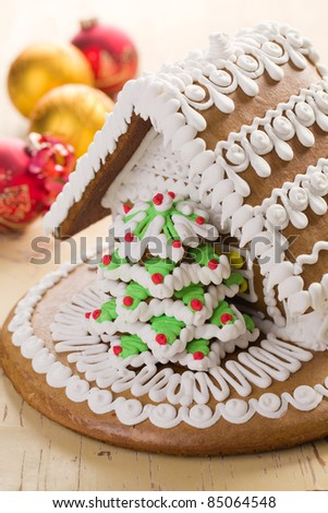 the sweet christmas gingerbread house - stock photo