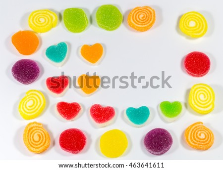 The sweet colorful jelly , candy pattern for background or fill in words on free space.