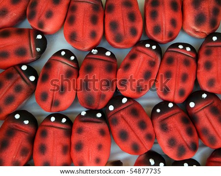 the sweets marzipan as ladybirds