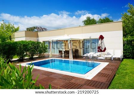 The swimming pool at luxury villa, Antalya, Turkey - stock photo