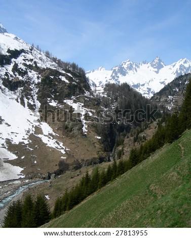 the Swiss Alps in spring, Switzerland - stock photo