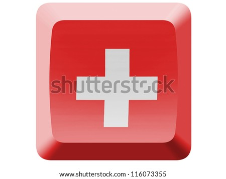The Swiss flag painted on  button