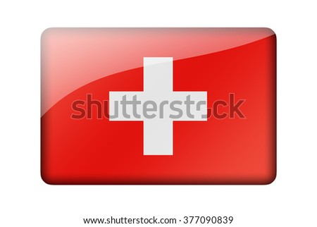 The Swiss flag. Rectangular glossy icon. Isolated on white background.
