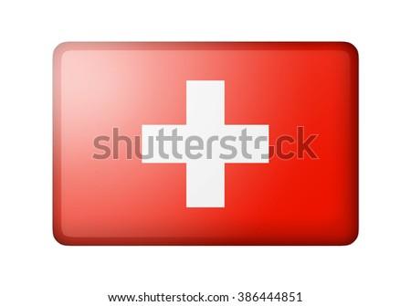 The Swiss flag. Rectangular matte icon. Isolated on white background. - stock photo