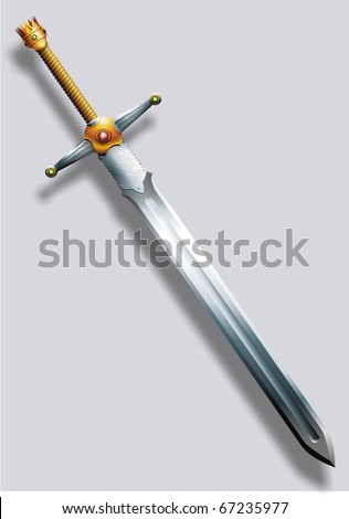 The sword decorated with gold and jewels - stock photo