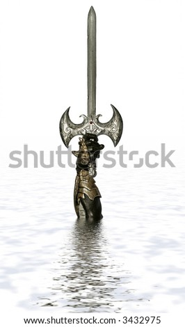 The sword in the lake I - stock photo