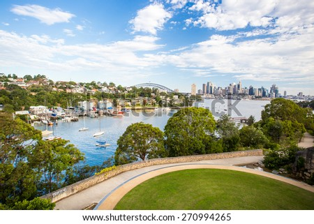 The Sydney CBD and surrounding harbour over Berrys Bay and old BP Australia refinery, on a clear summer day on February 8th 2015. - stock photo