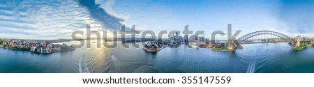 The Sydney Harbour. Panoramic 360 view of  city landmarks. - stock photo