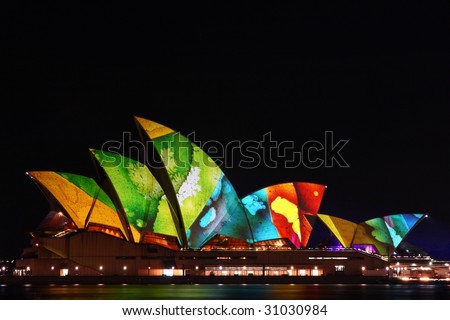 The Sydney Opera House is illuminated by the artwork of music producer, Brian Eno, at the start of the Luminous Festival. Photo taken: 27 May 2009, Sydney Australia