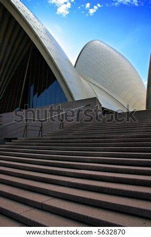 The Sydney Opera House is one of the most distinctive and famous 20th century buildings, and one of the most famous performing arts venues in the world - stock photo
