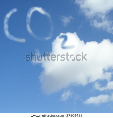The symbol for carbon dioxide ( CO2 ) symbol cloud in the air. - stock photo
