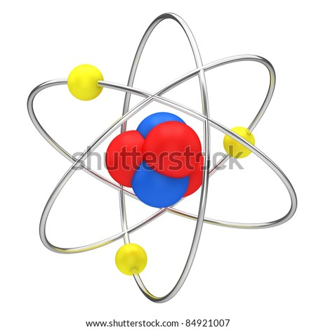 The symbol of nuclear technology isolated on a white background. - stock photo