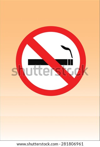 The symbol Stop Smoking on the orange background.