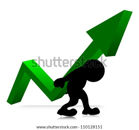 The Symbolizing Growth and Development of Business, The Man Carry Arrow Graph on His Back Isolated on White Background - stock photo