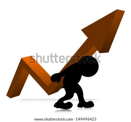The Symbolizing Growth and Development of Business, The Man Carry Orange Arrow Graph on His Back Isolated on White Background  - stock photo