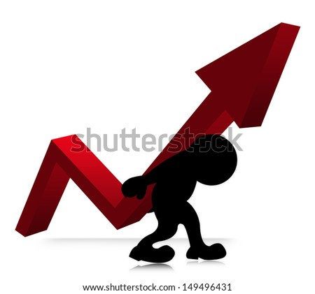 The Symbolizing Growth and Development of Business, The Man Carry Red Arrow Graph on His Back Isolated on White Background  - stock photo