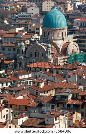 The Synagogue in Florence as seen from above the rooftops. - stock photo