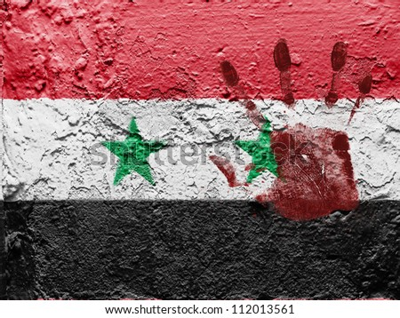 The Syria flag painted on grunge wall with bloody palmprint over it - stock photo