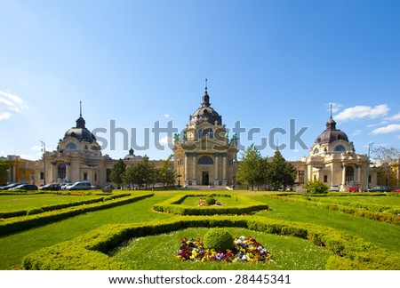 The Szechenyi bath in Budapest's main city park - stock photo