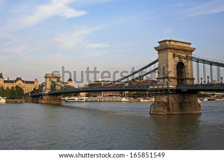 The Szechenyi Chain Bridge in Budapest - stock photo