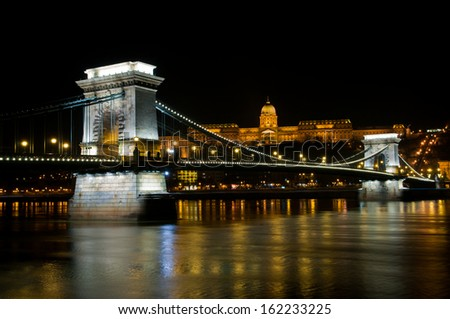 The Szechenyi Chain Bridge over Danube river in Budapest, Hungary - stock photo