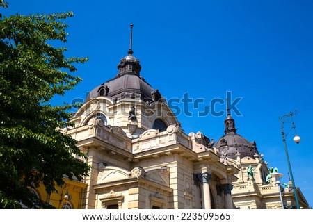 The Szechenyi Furdo in Budapest, Hungary. - stock photo