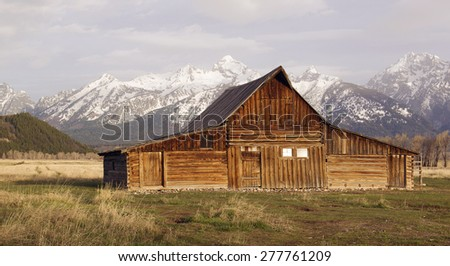 The T. A. Moulton Barn in Jackson Wyoming - stock photo