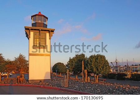 The Table Bluff Lighthouse for Humboldt Bay at Woodley Island Marina in Eureka, California - stock photo
