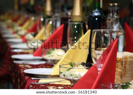The table covered by a holiday with drinks - stock photo