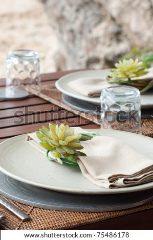 the table set for meal preparation - stock photo