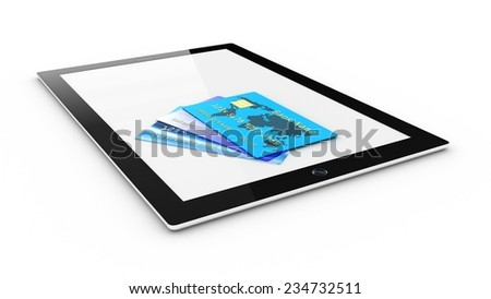 The tablet with a credit card - stock photo