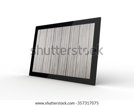 The tablet with wooden on the screen