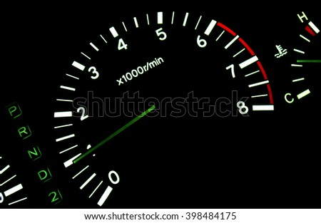 The tachometer on the instrument panel
