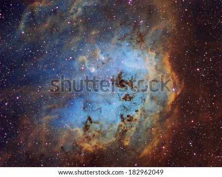 The Tadpole Nebula - Also known as IC410 is an emission nebula about 12,000 light years away in the constellation Auriga. - stock photo
