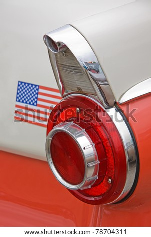 The tail-fin of a classic American automobile - stock photo