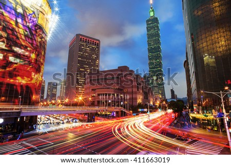 The Taipei cityscape at twilight in Taiwan city
