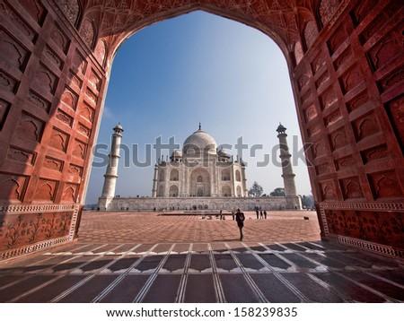The Taj Mahal in Agra, Uttar Pradesh, India. - stock photo