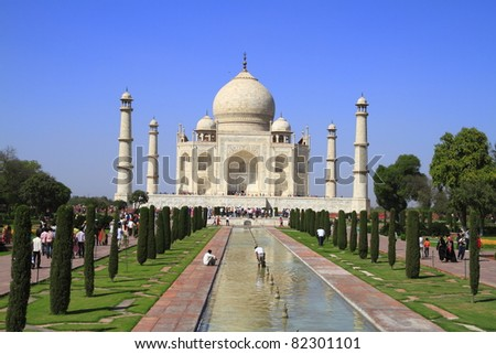 The Taj Mahal  is a mausoleum located in Agra, India, built by Mughal emperor Shah Jahan - stock photo