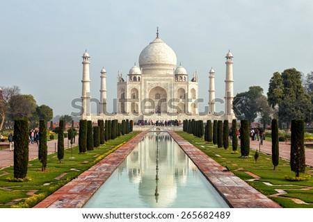 The Taj Mahal  is a white marble mausoleum located in Agra, Uttar Pradesh, India. - stock photo