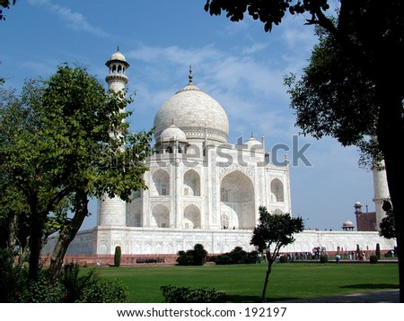 The Taj Mahal was built by Emperor Shah Jahan as a mausoleum for his wife Mumtaj in 1631 AD - stock photo