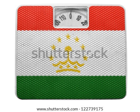 The Tajik flag painted on balance