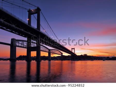 The Tamar Bridge built in 1961 spanning over the River Tamar, Devon, UK - stock photo