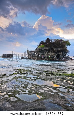 The Tanah Lot Temple, the most important indu temple of Bali, Indonesia. - stock photo
