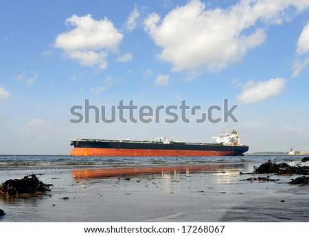 The tanker on the river Nieuwe Waterweg Rotterdam - stock photo