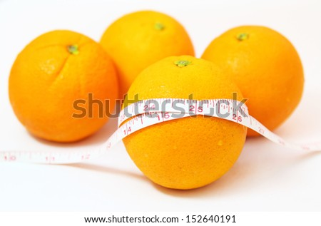 The tape measure of body good health with oranges - stock photo