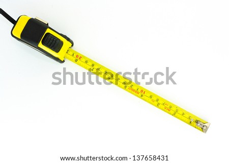 the tape measure on white background