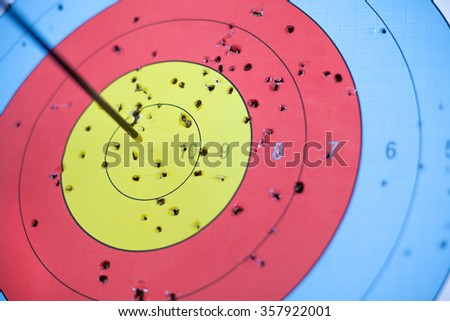 The target with an arrow in flight, the first hit in the center.