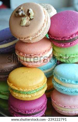 The Tasty and Assorted Colorful French Macaroons - stock photo